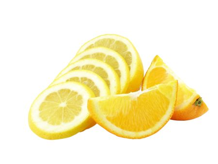 On a white background close up the cut lemon and two segments of an orange Stock Photo - 6566722