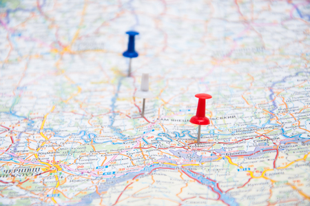 Two pins on a map Stock Photo