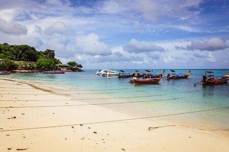 Big traditional thai boats near Phi Phi island border in Thailand