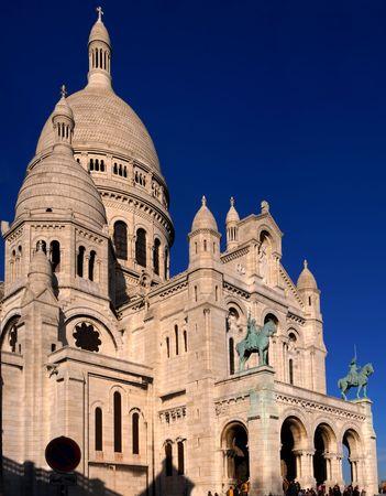 Basilique du Sacre Coeur with great blue sky in Montmartre, Paris, France. panoramic assemblage photo