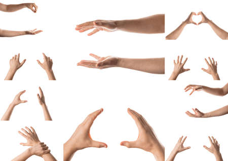 Man hand with the various gesture, open hand, pointing finger, hitting each other, fingers crossed, hold, grab, catch, fist, showing numbers. Isolated on white background. Collage of set photos.