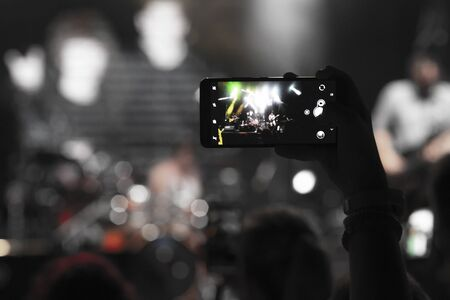 Video recording of the concert on the smartphone Stok Fotoğraf