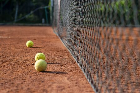 Tennis game background. Training tennis ball on the tennis court