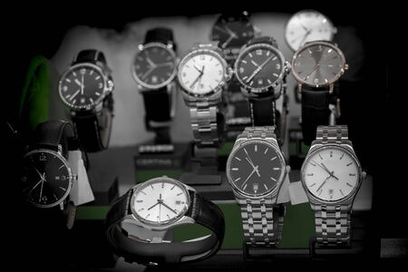 Luxury watches in a store