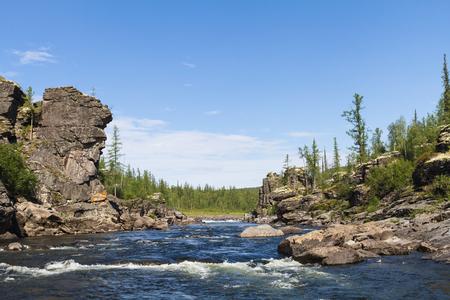 fantastical: Fantastical cliffs of river rapid. Eastern Siberia. krasnoyarsk Territory
