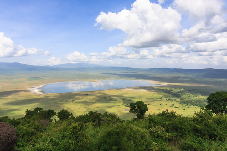 View of NgoroNgoro crater. The lake is inside the crater. Tanzania, Africa