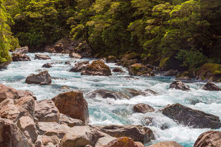 A fast river near Pop's View lookout. Fiordland. New Zealand