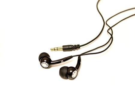 Micro headphones on white background photo