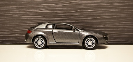 Model car grey metallic  on the white isolated background photo