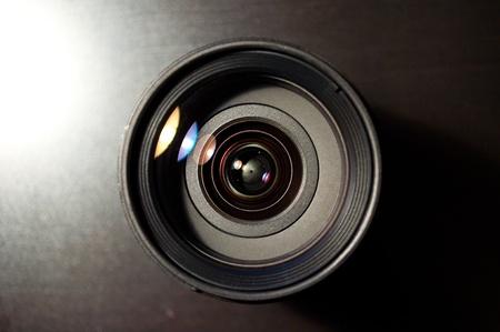 Photo lens on black background
