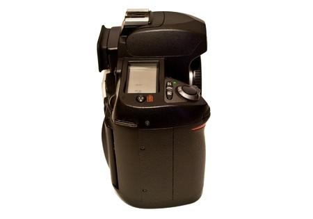 Clear photo camera on white background photo