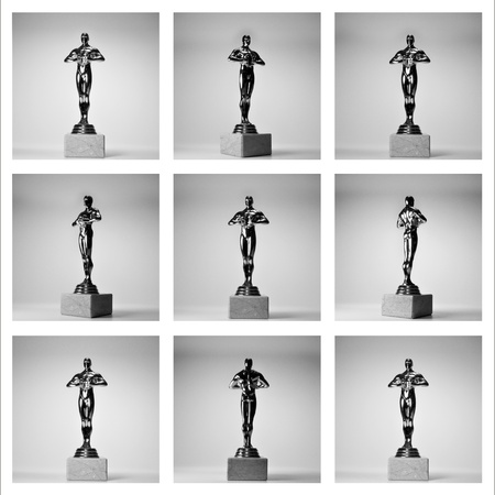 collage of the nine gold oscars on thу white background