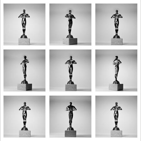 collage di oro nove Oscar su th? fondo bianco