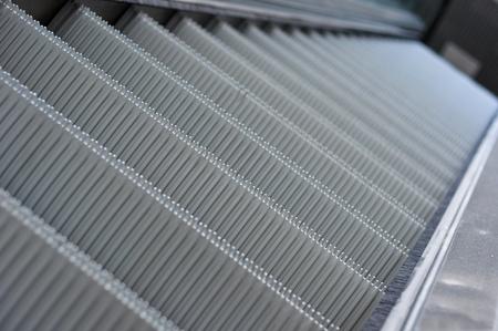 close up of escalator steps photo