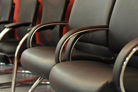 black leather office chair close-up Standard-Bild