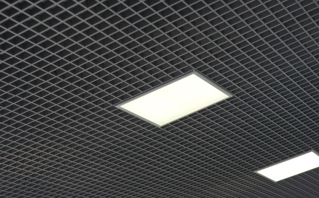 ceiling with white square lamps photo