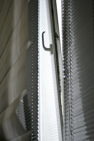 office. open window and horizontal blinds photo