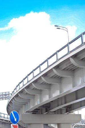 automobile overpass on background of blue sky with clouds. bottom view photo