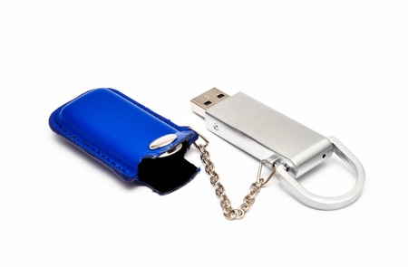 flash card with a blue leather case and chain photo