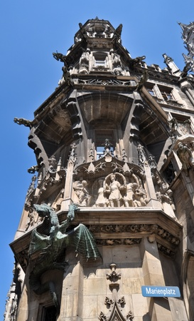 details of Neues Rathaus,  Marienplatz,   Munich, Germany photo