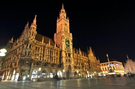 Neues Rathaus at night, Marienplatz, Munich, Germany