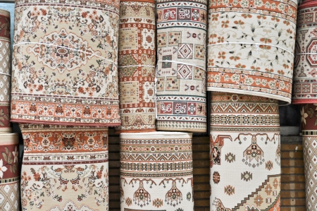 carpets, rolled into coils and tied with a rope Standard-Bild