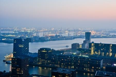 Rotterdam night aerial view photo