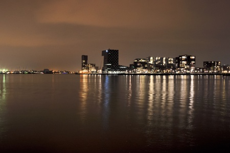 maas: Rotterdam night view to Maas river and Euromacht
