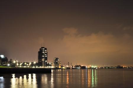 maas: Rotterdam night view to Maas river