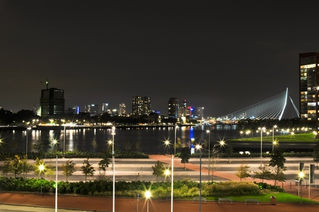 Rotterdam night view to Maas river photo