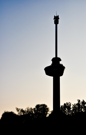 euromast: silhouette of the Euromast against the sunset sky
