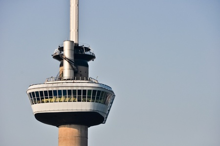 euromast: Zoomed view on the Euromast tower. A landmark of Rotterdam, The Netherlands Editorial