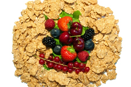 a lot of different berries and corn flakes photo