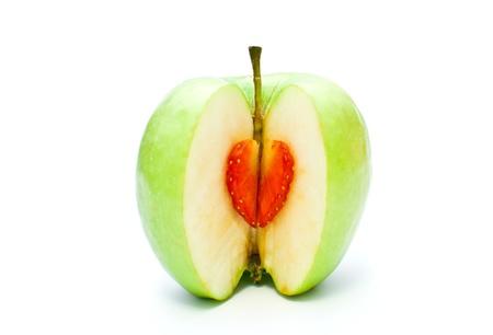 sliced apple: sliced apple on white background Stock Photo