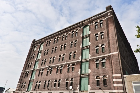 midlands: low angle view to the old brick factory building Editorial