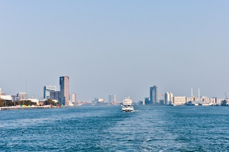 maas: Maas river  skyline. Rotterdam,  Netherlands Stock Photo