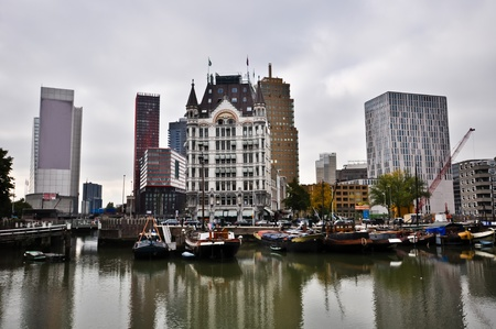 view of the canal in Rotterdam on a cloudy day