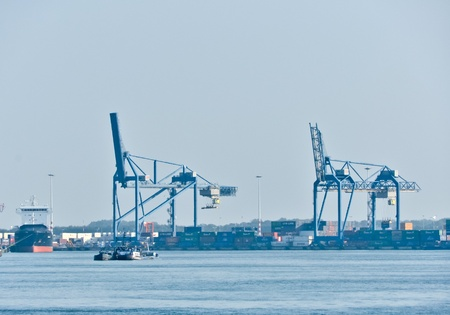 view on Maas river ports of Rotterdam, The Netherlands