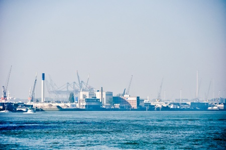 maas: view on Maas river ports of Rotterdam, The Netherlands Stock Photo