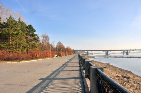 novosibirsk: Novosibirsk, Russia, the embankment of the river Ob