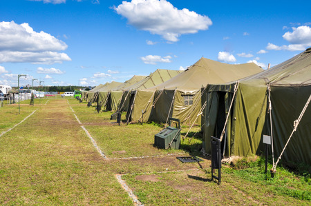 war refugee: the Army camp at a sunny day