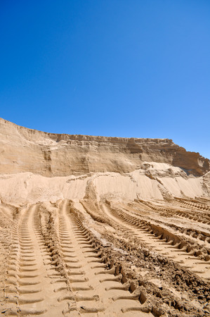 sand pit: the sand pit with traces of tractor