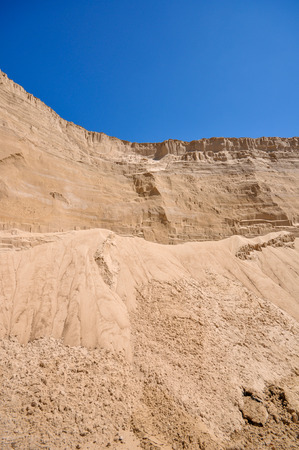 sand pit: the sand pit and a blue sky Stock Photo