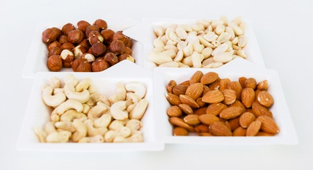 paper plates: various nuts mix in square paper plates