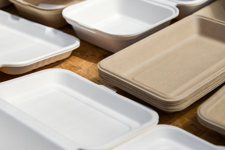 paper plates: a variety of paper disposable plates of different colors