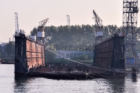 shipyard: empty Shipyard floating dry dock in the Rotterdam sea port