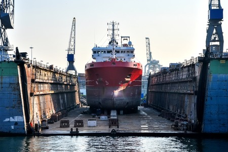 on ship: a ship in a floating dry dock Stock Photo