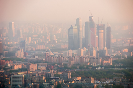 birds eye view: Birds eye view on City in Moscow Russia