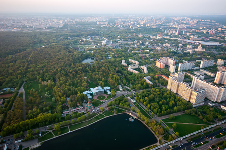 famous industries: Birds eye view on Sheremetyevo homestead and Ostankino district and VDNH in Moscow Russia