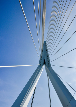 famous industries: Erasmus bridge on Maas river in Rotterdam Netherlands Holland